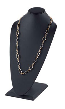 Tall Necklace Display - Black Faux Leather