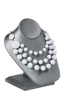 Gray Necklace Display On Stand