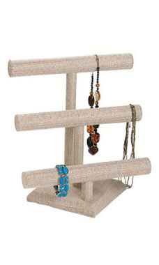 3-Tier Linen Jewelry Display