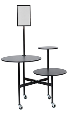 Round 3-Tier Black Table with Sign Holder