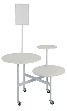 Round 3-Tier White Table with Sign Holder