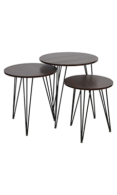 Boutique Vintage Round Nesting Dark Walnut Tables with Tripod Legs