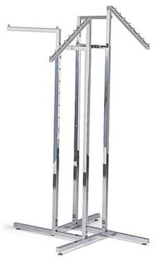 Chrome 4-Way Clothing Rack with 2 Straight Arms and 2 Slant Arms