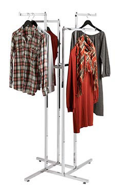 Chrome 4-Way Clothing Rack with Straight Arms