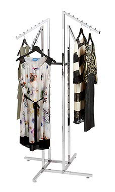 Chrome 4-Way Clothing Rack with Slant Arms
