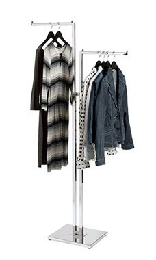 Chrome 2-Way Clothing Rack with Straight Arms