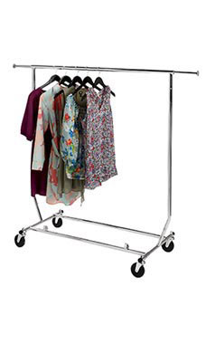 Collapsible Single Rail Salesman Rolling Rack   Chrome