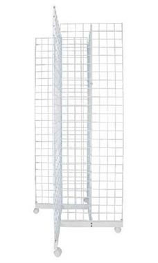 White 4-Way Wire Grid Tower with Base and Casters