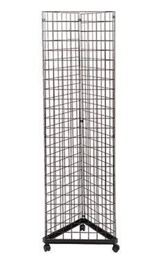 Black Triangle Wire Grid  Grid Wall Tower with Base  Casters