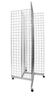 Chrome 4-Way Wire Grid Tower with Base and Casters