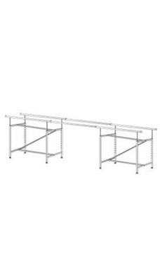Chrome Tandem Rails for Chrome Double-Rail Clothing Rack with Z-Brace