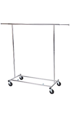 Economy Chrome Single-Rail Collapsible Salesman Clothing Rack