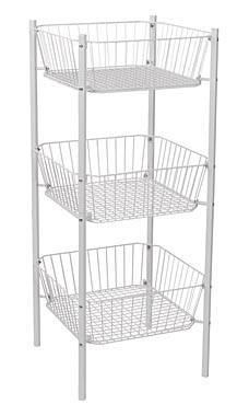 3-Tier White Wire Dump Bin