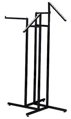 4-Way Black Clothing Rack with 2 Straight Arms and 2 Slant Arms