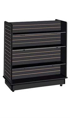 24 x 48 x 48 inch Black Slatwall Gondola with 6 Shelves