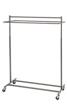Boutique Raw Steel Double-Rail Rolling Rack
