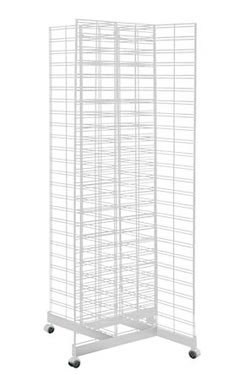 White 4-Way Slat Grid Tower with Base and Casters