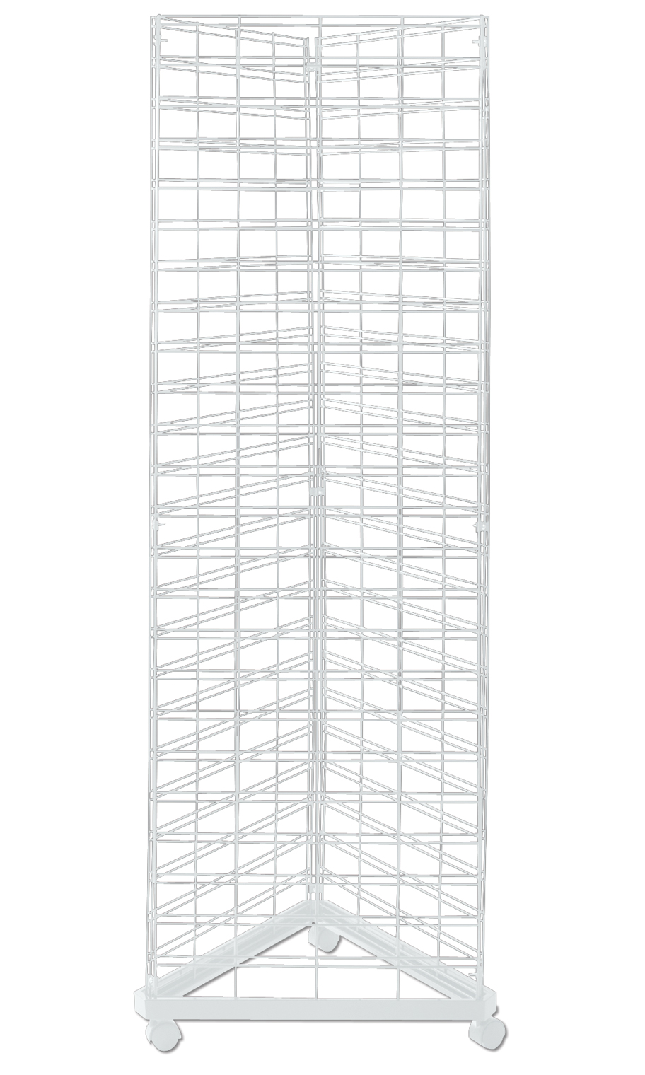 White Triangle Slat Grid Tower with Base & Casters