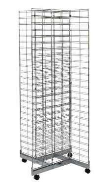 Chrome 4-Way Slat Grid Tower with Base and Casters