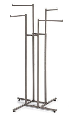 Boutique Raw Steel 4-Way Clothing Rack with Straight Arms