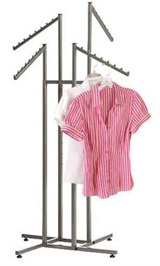 Boutique Raw Steel 4-Way Clothing Rack with Slant Arms