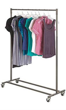 Boutique Raw Steel Salesman Rolling Rack - Single Rail