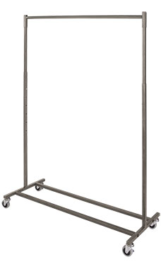 Boutique Raw Steel Single-Rail Rolling Rack