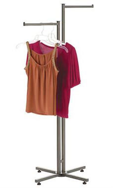 Boutique Raw Steel 2-Way Clothing Rack with Straight Arms