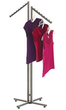 Boutique Raw Steel 2-Way Clothing Rack with Slant Arms