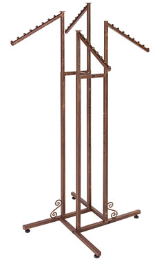 Boutique Cobblestone 4-Way Clothing Rack with Slant Arms