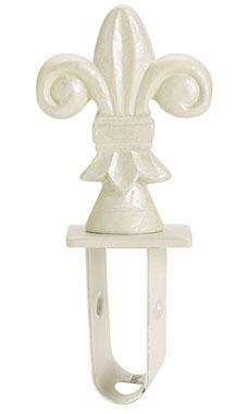 Boutique Ivory Fleur De Lis  Square Fitting Finial