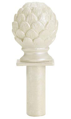 Boutique Ivory Artichoke Round Fitting Finial