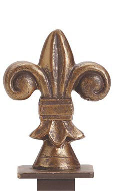 Boutique Cobblestone Fleur De Lis Square Fitting Finial