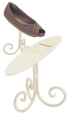 Boutique Ivory 6 inch Shoe Display Stand