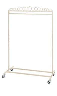 Boutique Ivory Single-Rail Rolling Rack