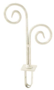 Boutique Ivory Double Curl Square Fitting Finial