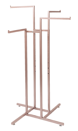 Rose Gold 4-Way Clothing Rack with Straight Arms