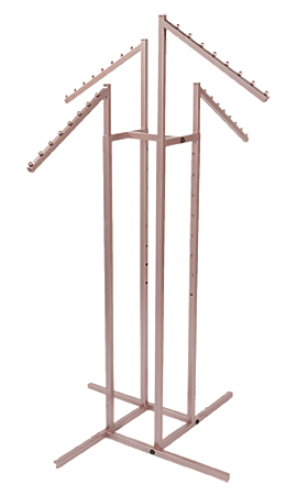 Rose Gold 4-Way Clothing Rack with Slant Arms