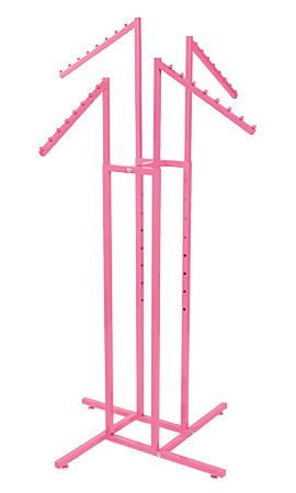 Hot Pink 4-Way Clothing Rack with Slant Arms