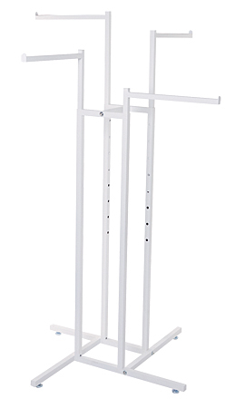 White 4 Way Clothing Rack Straight Arms