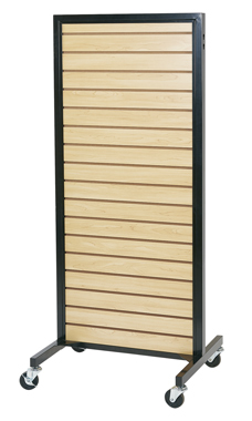 Maple Metal Framed Rolling Slatwall Merchandiser