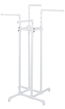 Boutique White Pipe 4-Way Clothing Rack with Straight Arms