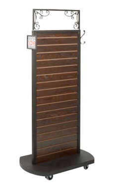 Boutique Vintage Dark Walnut Slatwall Rolling Merchandiser