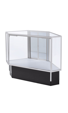 Full Vision Rear Access Corner Display Case - Gray