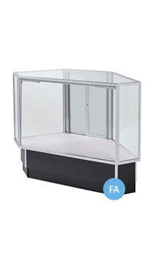 Full Vision Corner Rear Access Black Display Case Fully Assembled
