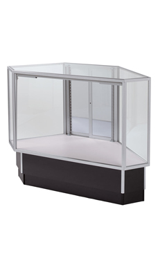 Full Vision Rear Access Corner Display Case - Black