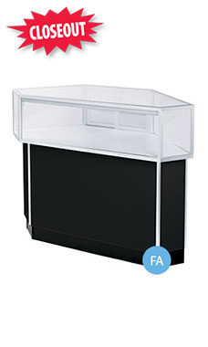 Corner Rear Access Black Jewelry Display Case