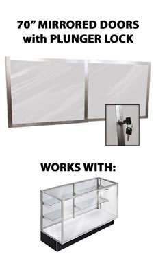 Mirror Doors and Plunger Lock Kit for 70 inch Metal-Framed Extra Vision Display Case