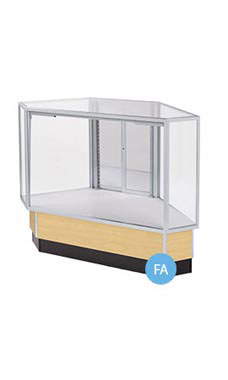 Full Vision Corner Rear Access Maple Display Case