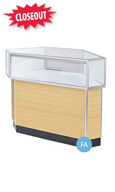 Corner Rear Access Maple Jewelry Display Case